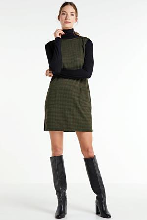 jurk met pied-de-poule patroon groen/zwart