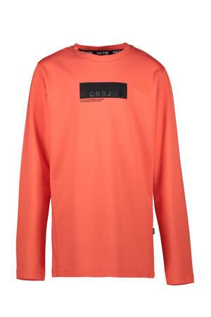 longsleeve Johnes met logo oranje