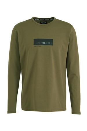 T-shirt met printopdruk kaki/zwart