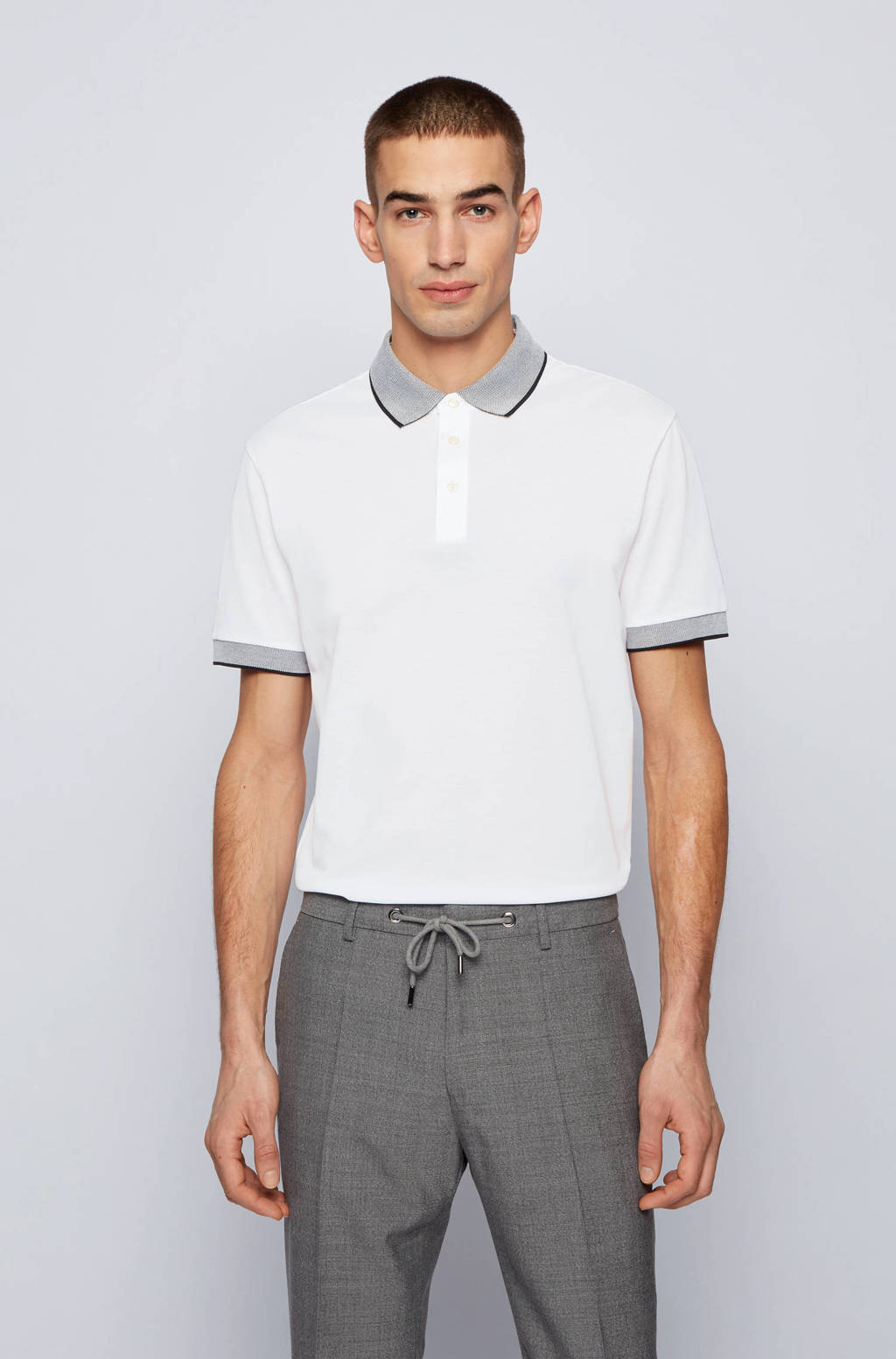 BOSS Menswear slim fit polo Prout met contrastbies wit, Wit