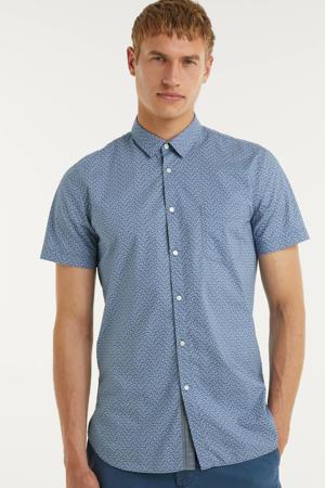 slim fit overhemd Magneton met all over print blauw