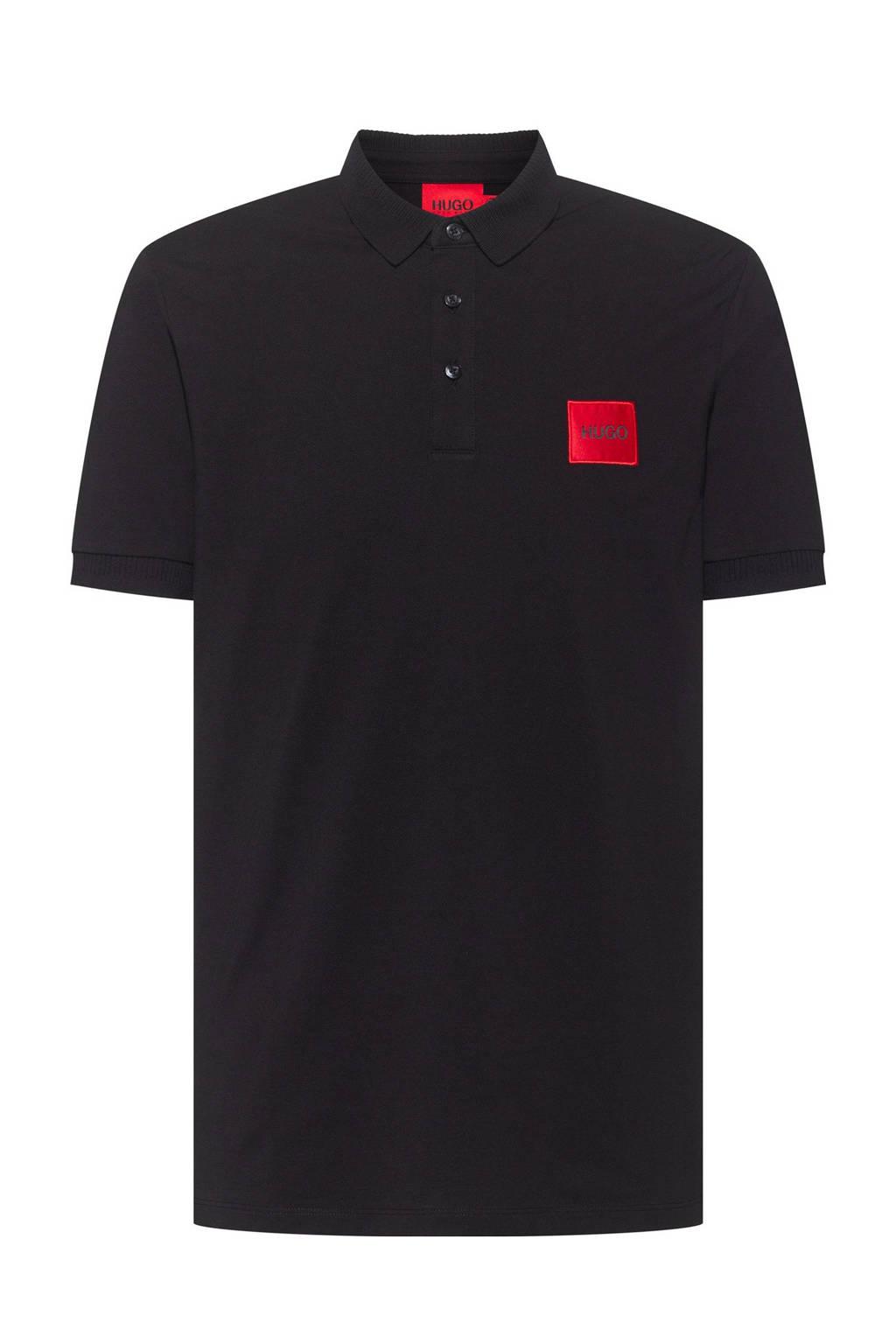 HUGO regular fit polo zwart, Zwart