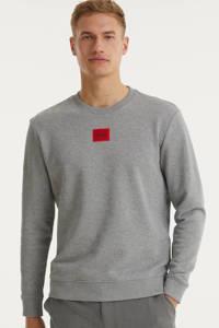 HUGO sweater met logo grijs melange, Grijs melange