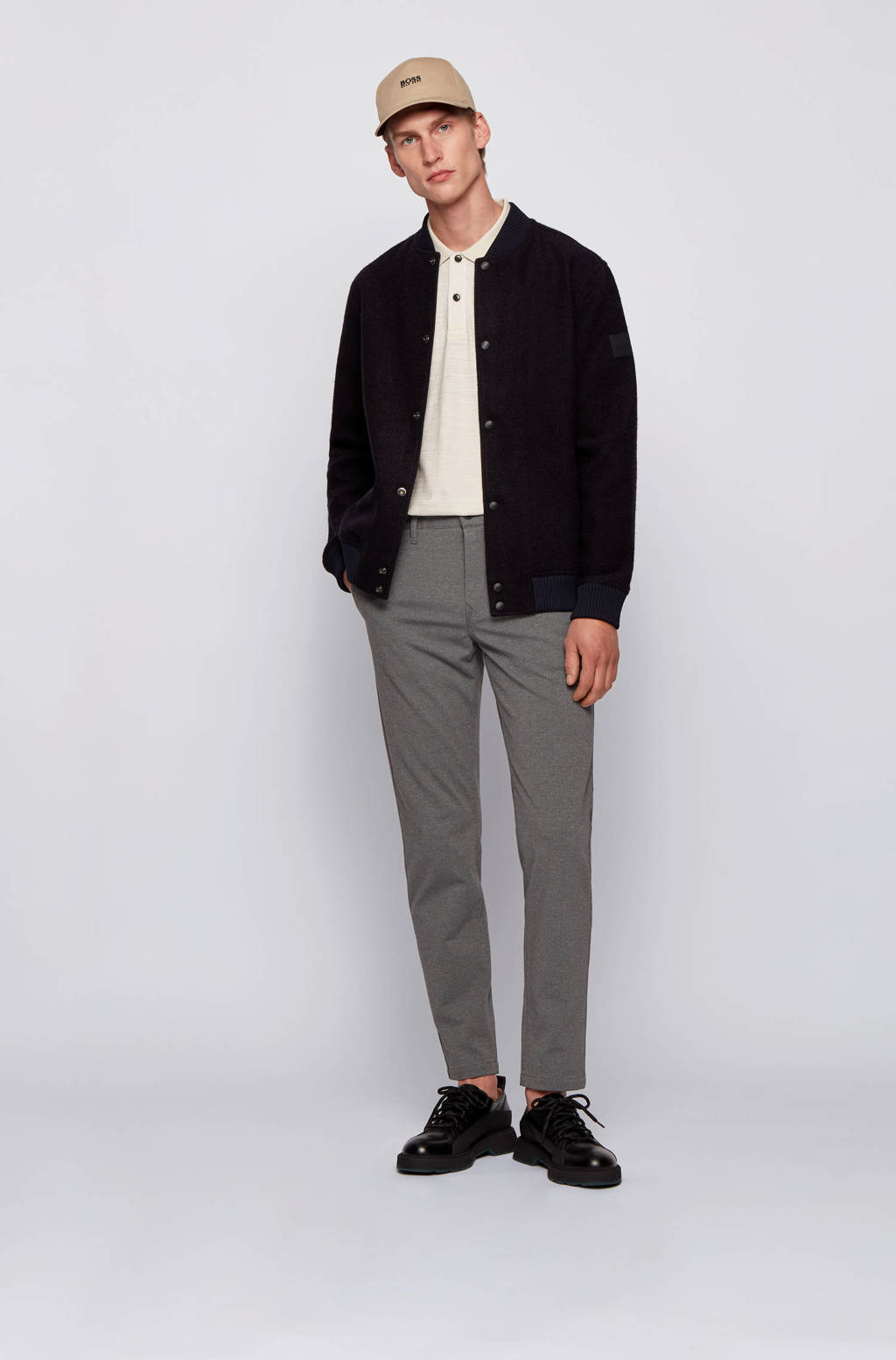 BOSS Casual gemêleerde tapered fit chino donkergrijs, Donkergrijs