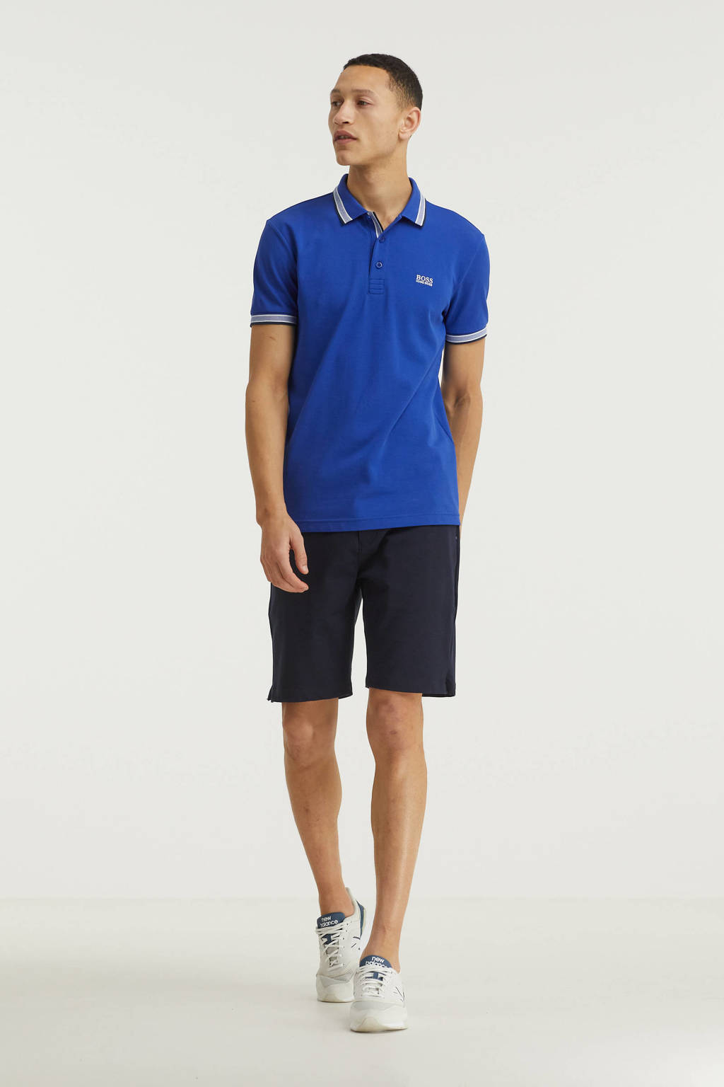 BOSS Athleisure slim fit polo Paddy met contrastbies blauw, Blauw