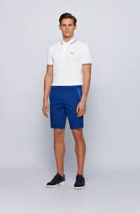 BOSS Athleisure slim fit polo Paddy met contrastbies wit, Wit