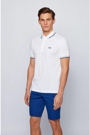 slim fit polo Paddy met contrastbies wit