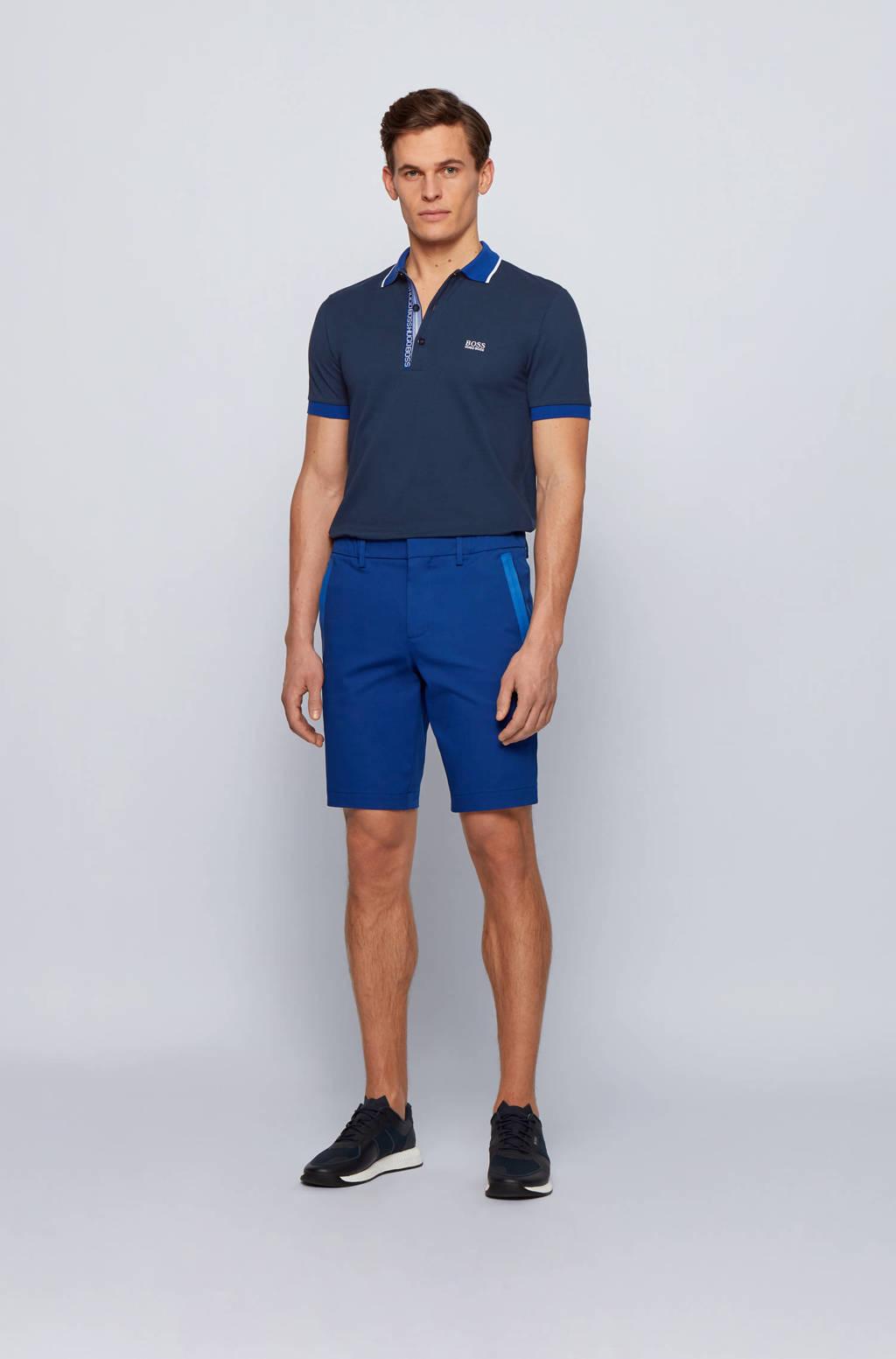 BOSS Athleisure slim fit polo Paule met contrastbies donkerblauw, Donkerblauw