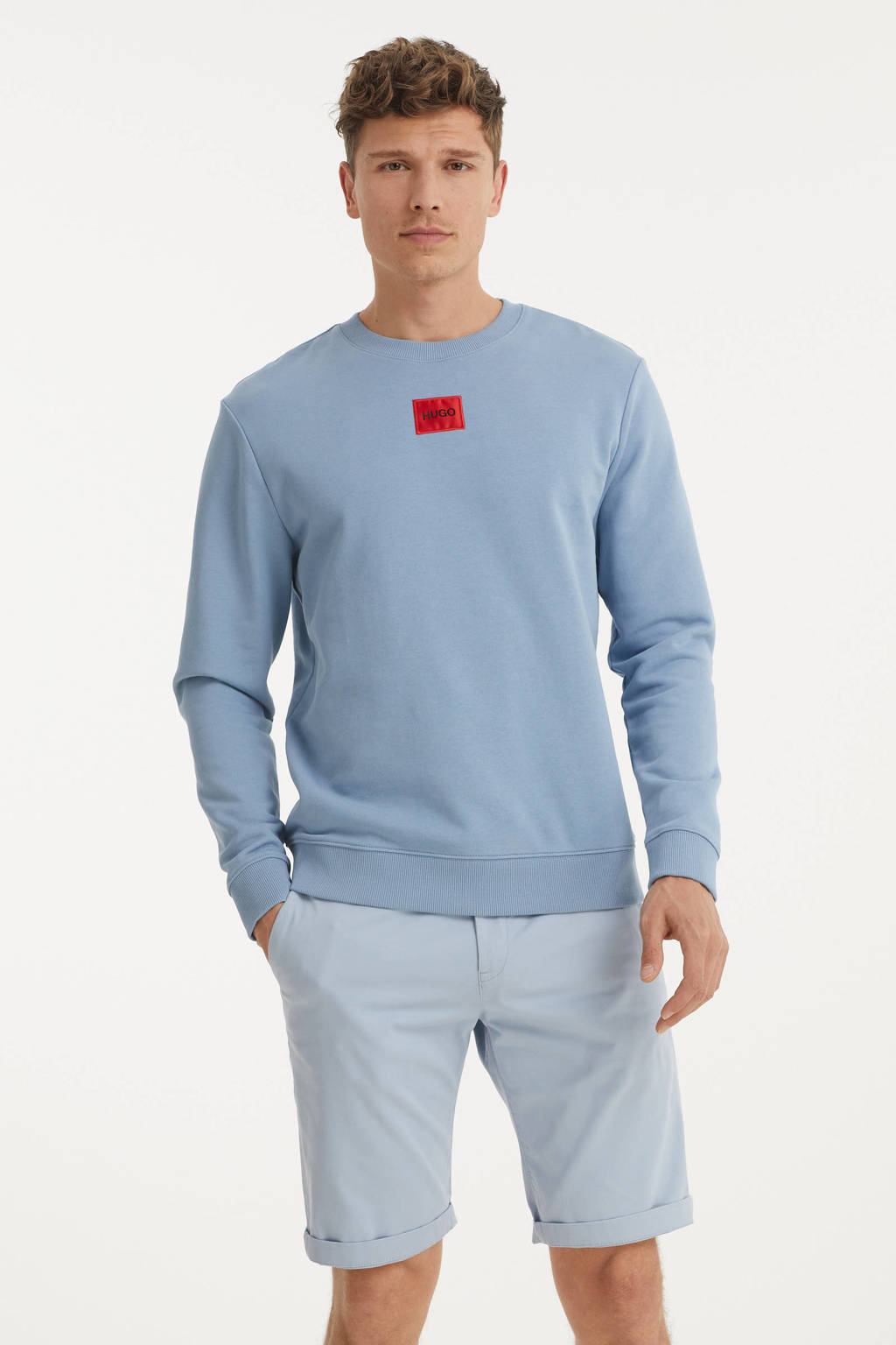 HUGO sweater met logo blauw, Blauw
