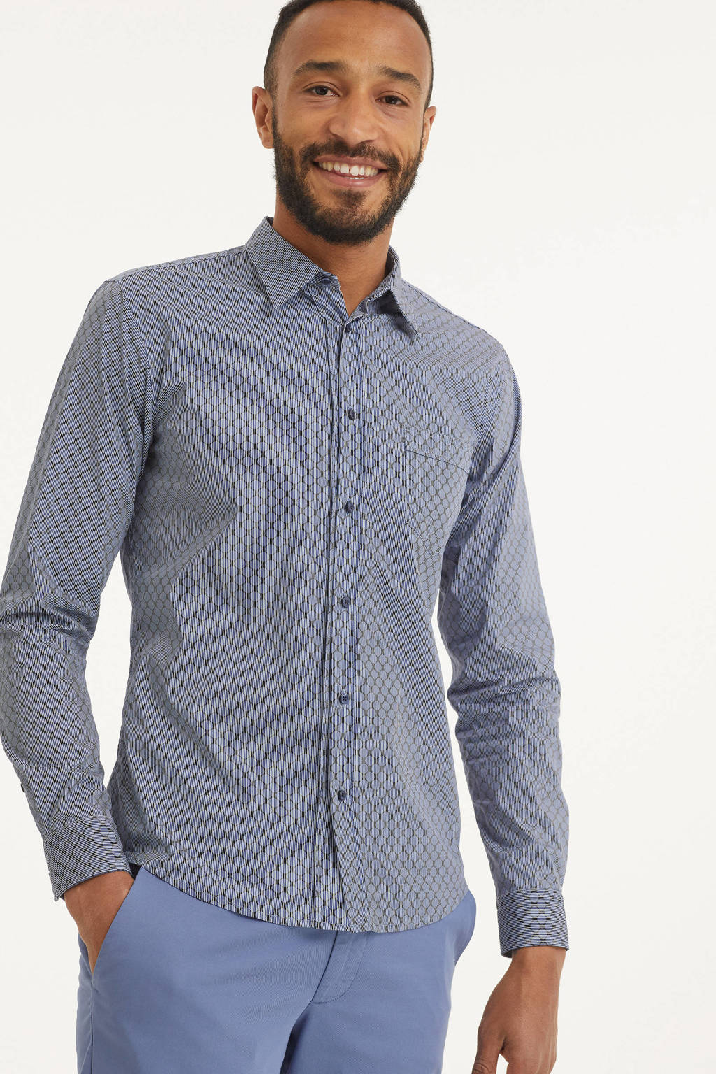 BOSS Casual slim fit overhemd Marvyn met all over print blauw, Blauw