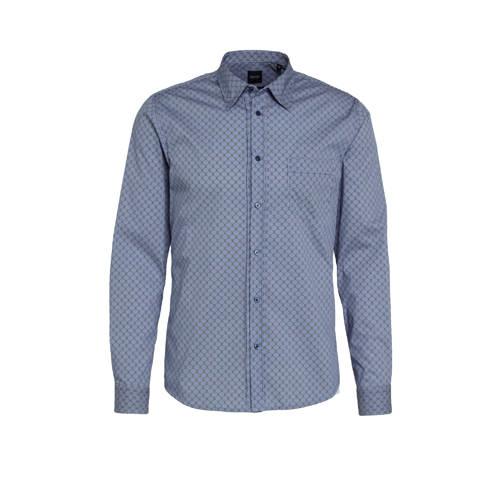 BOSS Casual slim fit overhemd Marvyn met all over print blauw