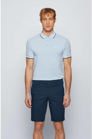 slim fit polo Paddy met contrastbies lichtblauw