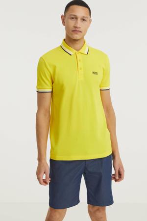 slim fit polo met contrastbies geel