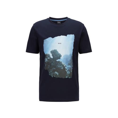 BOSS Casual T-shirt Noah met printopdruk donkerblauw