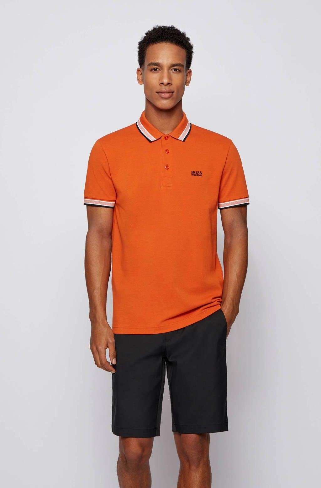 BOSS Athleisure slim fit polo met contrastbies oranje, Oranje