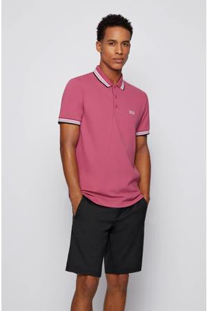 slim fit polo met contrastbies roze