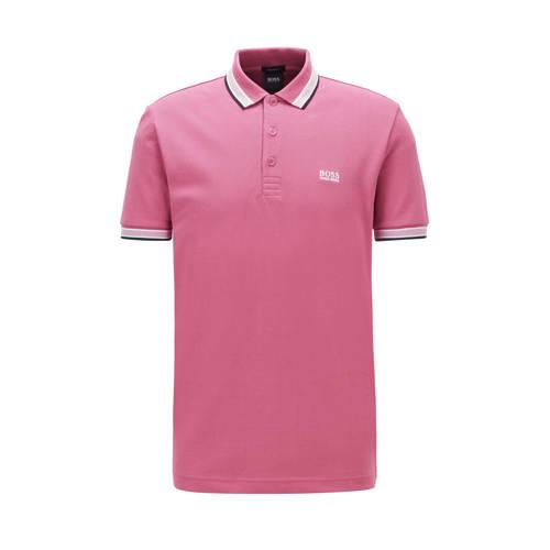 BOSS Athleisure slim fit polo met contrastbies roze