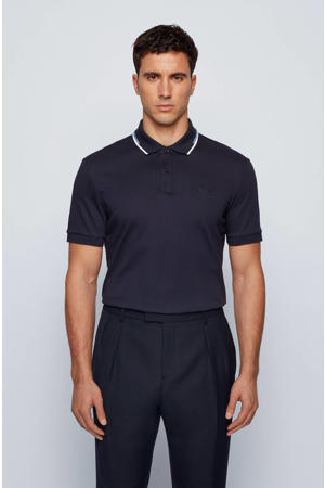 regular fit polo Parlay met contrastbies donkerblauw