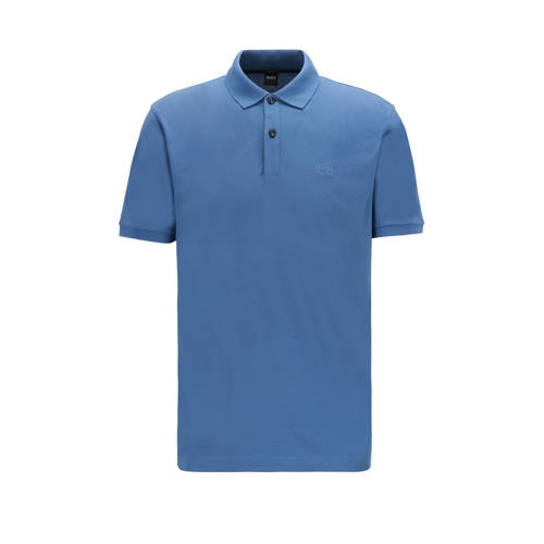 BOSS Menswear slim fit polo jeansblauw