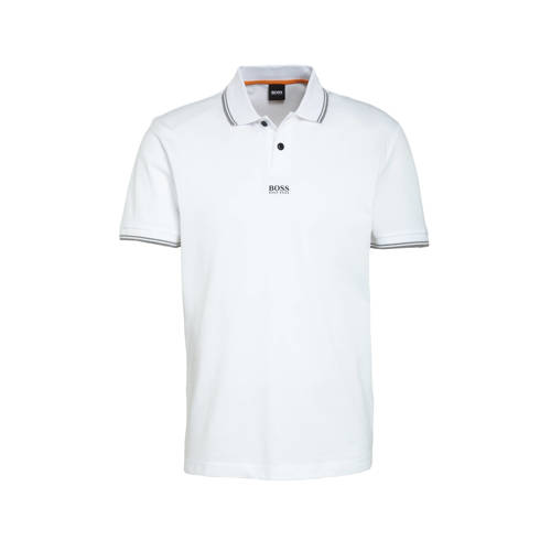 BOSS Casual regular fit polo met contrastbies wit