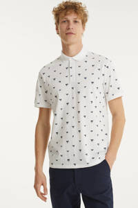 BOSS Casual regular fit polo met all over print wit, Wit