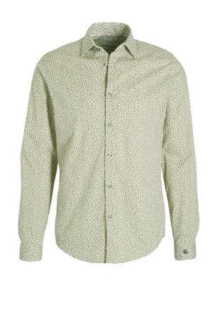 slim fit overhemd met all over print olijfgroen/wit