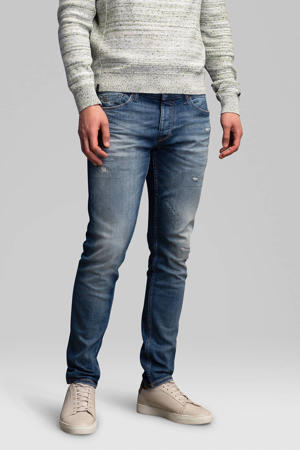 slim fit jeans Riser vintage mid blue repair
