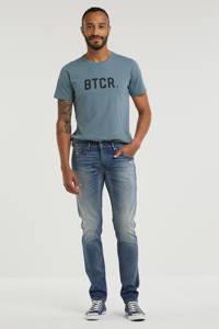 Cast Iron slim fit jeans Riser vintage mid blue repair, Vintage mid blue repair