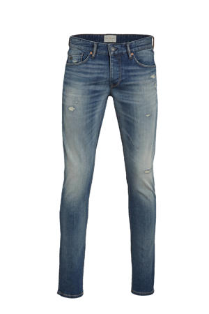 slim fit jeans Riser vintage mid blue repair