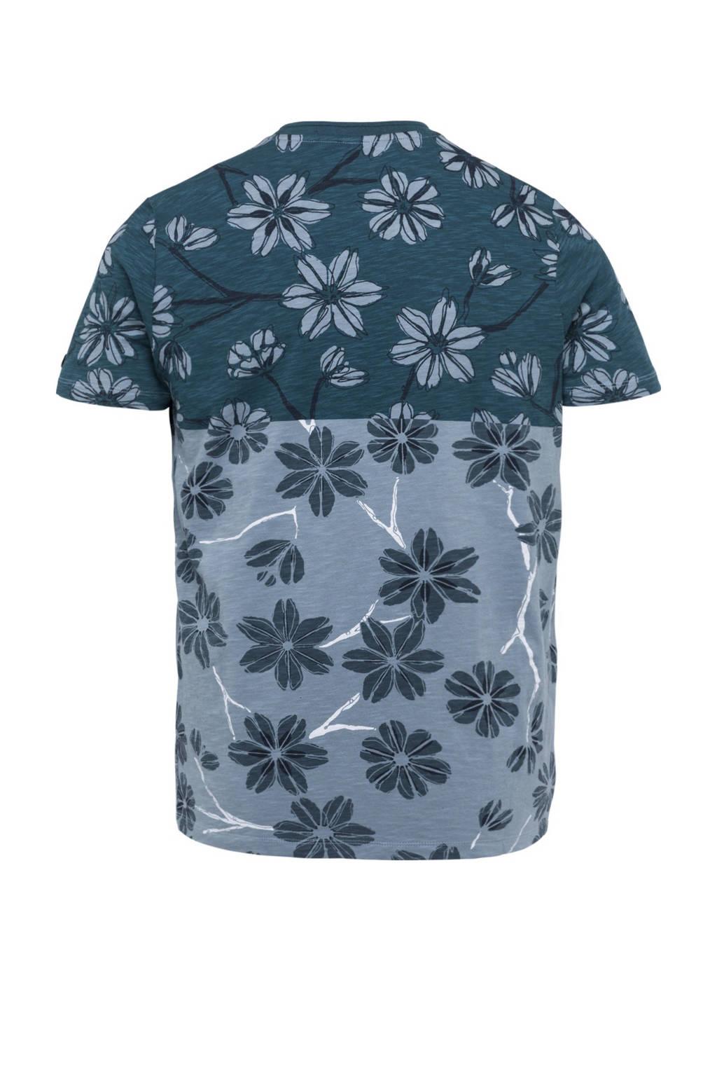 Cast Iron gebloemd T-shirt blauw, Blauw