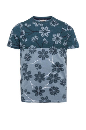 gebloemd T-shirt blauw