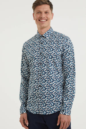 slim fit overhemd met all over print blauw/wit