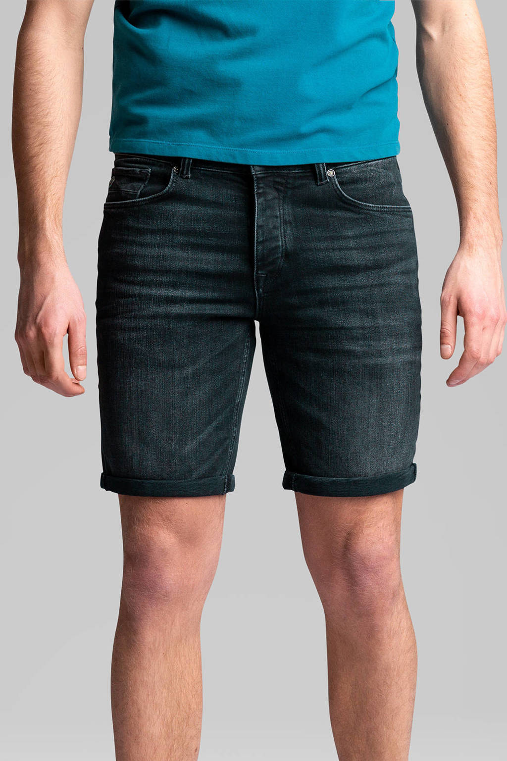Cast Iron jeans short Cope black faded stretch, Black Faded Stretch