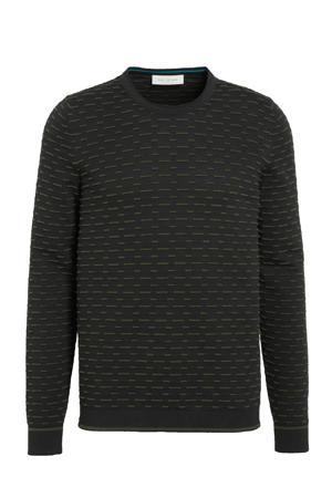 trui met all over print en textuur zwart/groen