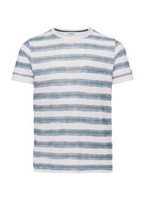 gestreept T-shirt wit/blauw/grijs