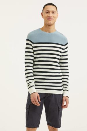 gestreepte trui wit/lichtblauw/zwart