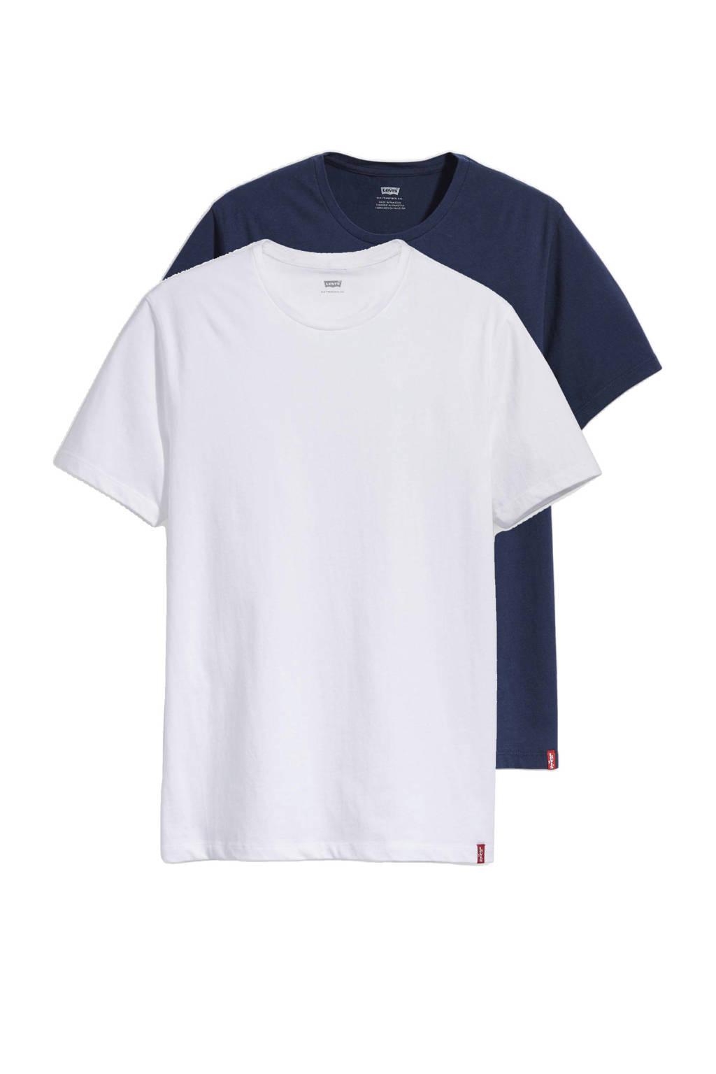 Levi's T-shirt - set van 2, Wit/donkerblauw