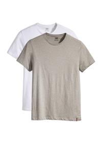 Levi's T-shirt - (set van 2), Wit/grijs melange