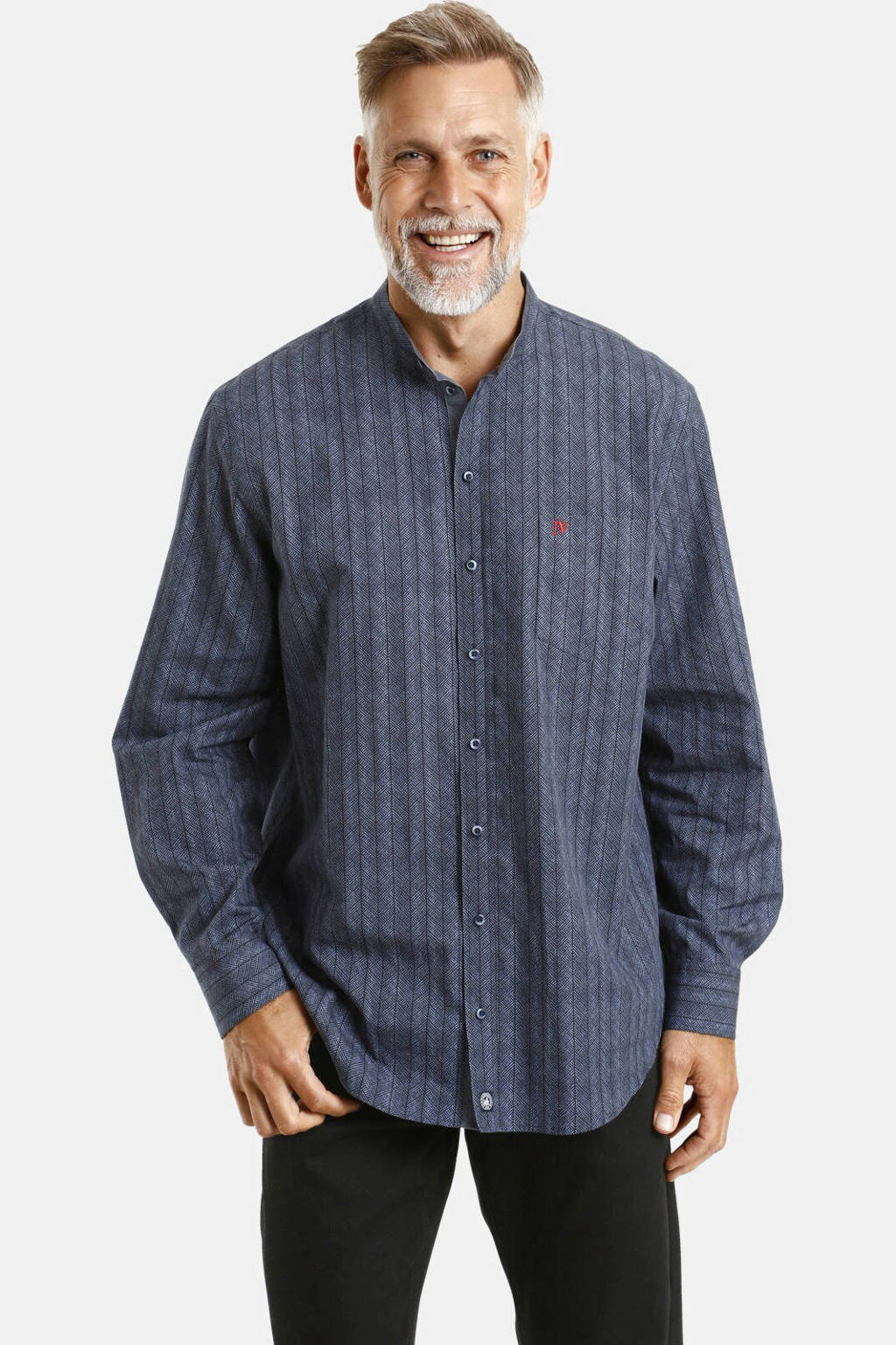 Jan Vanderstorm loose fit overhemd Plus Size Hamingur met all over print donkerblauw, Donkerblauw