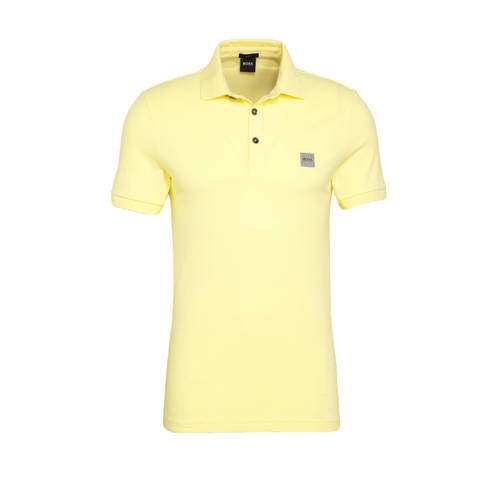 BOSS Casual slim fit polo lichtgeel