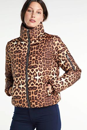 gewatteerde jas Leone met all over print bruin