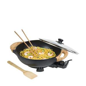 AEW100AS elektrische wok met bamboehandgrepen, 32 cm