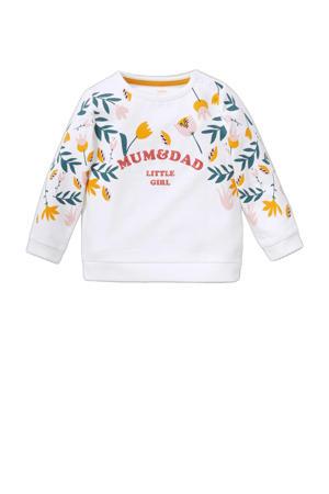 sweater met printopdruk wit/geel/groen