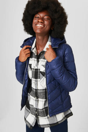 gewatteerde jas met all over print donkerblauw