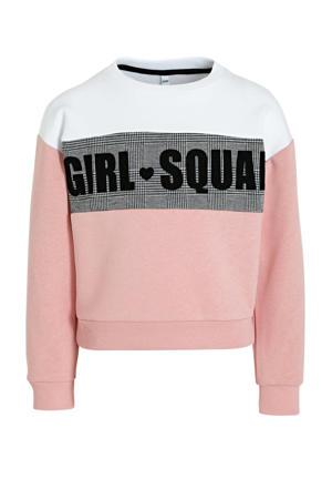 sweater met tekst roze/wit