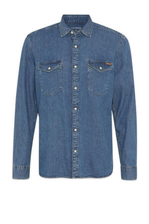 regular fit denim overhemd blauw