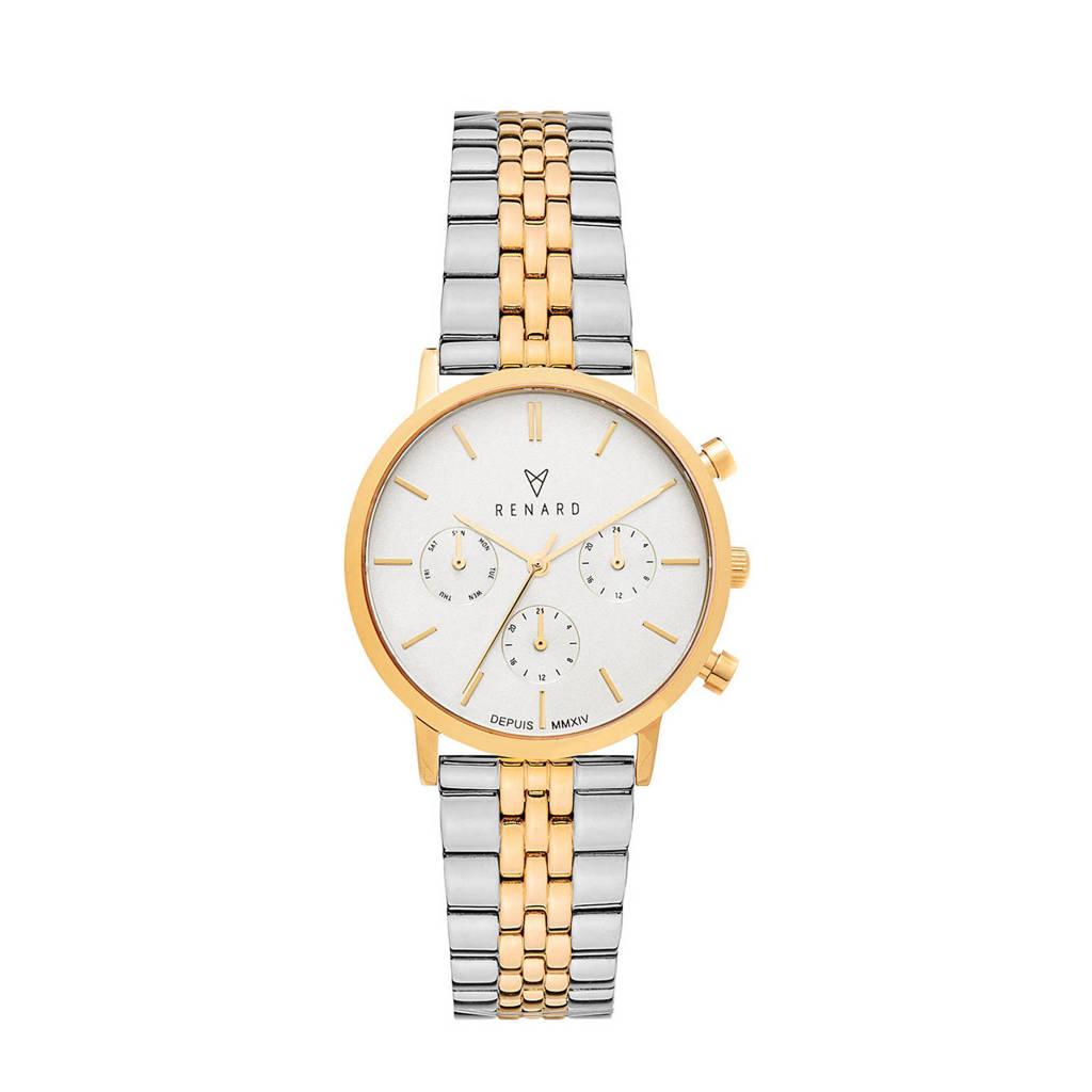 Renard  Elite 35.5 Chronograaf horloge RB361YG95SGD zilver/goud, Goudkleurig,Zilverkleurig