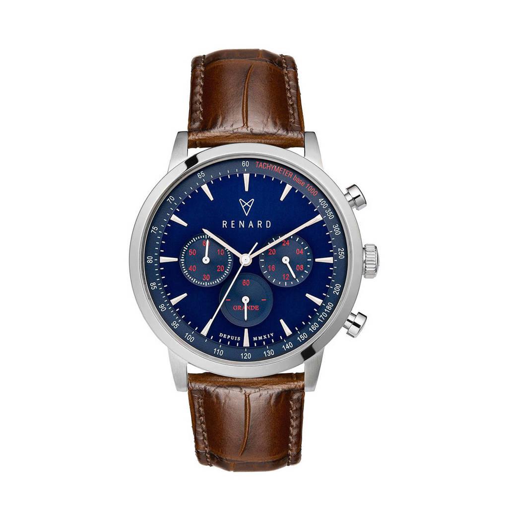 Renard horloge Grande Chrono RC402SS41CBR bruin, Donkerbruin/blauw