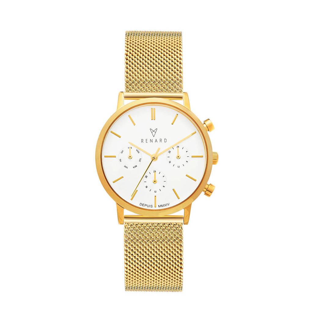 Renard Elite 35.5 Chronograaf horloge RB361YG60YG2 goud/wit, Goudkleurig