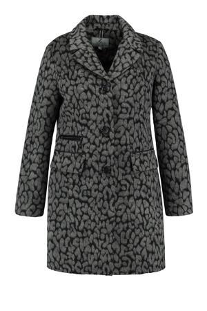 coat met panterprint grijs/zwart